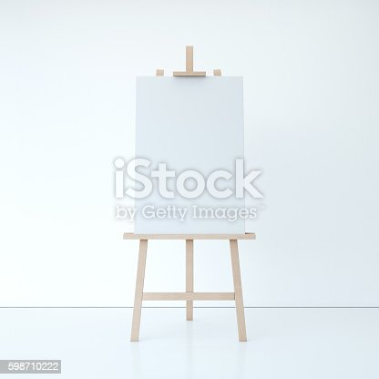 1021586250istockphoto Wooden easel with empty white canvas. 3d rendering 598710222