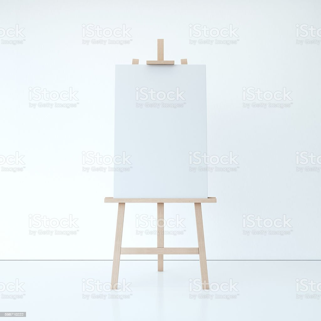 Wooden easel with empty white canvas. 3d rendering - foto de stock