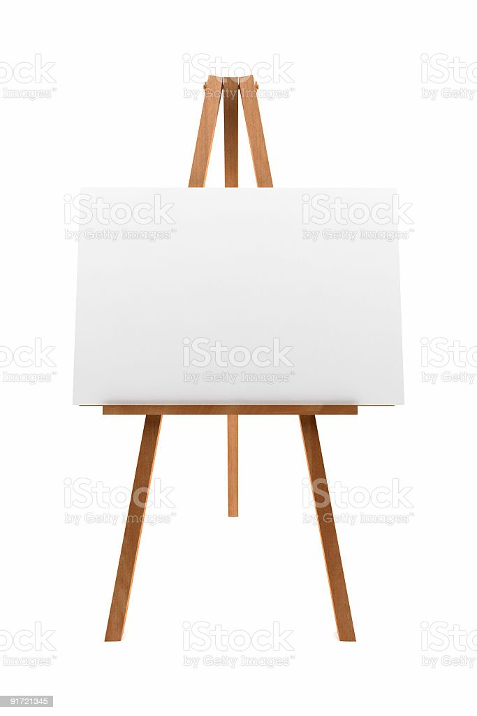 Wooden easel with white blank canvas on a white background stock photo