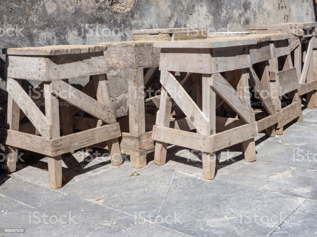 wooden easels for stone sculptors - foto stock