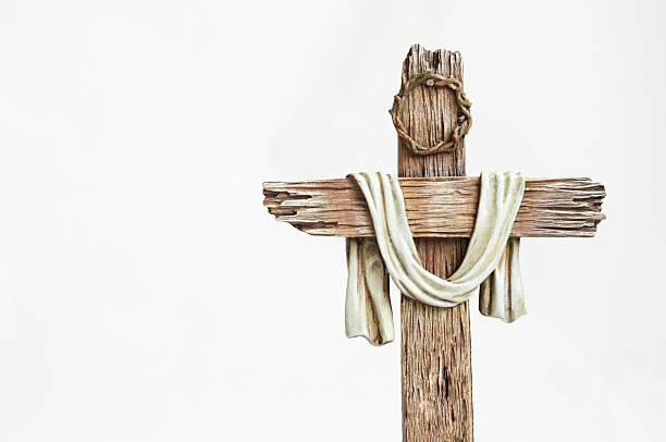 wooden easter cross stock photo