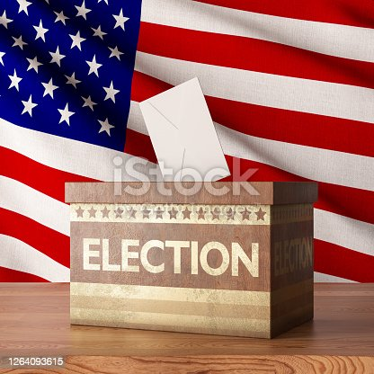 Wooden Election Ballot with USA Flag. 3d Render