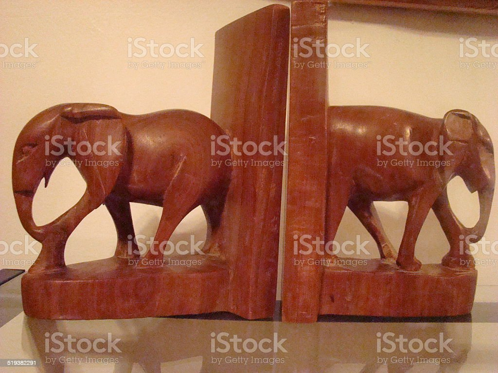 Wooden Elephant Bookends Stock Photo - Download Image Now