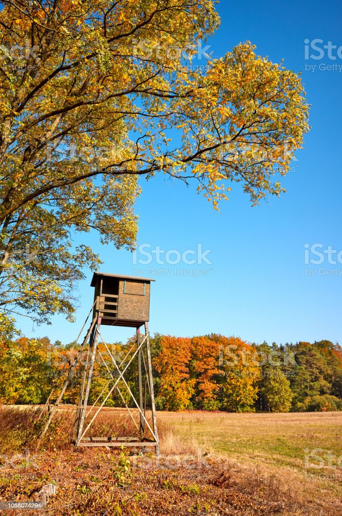 Wooden Elevated Deer Hunting Blind Stock Photo - Download