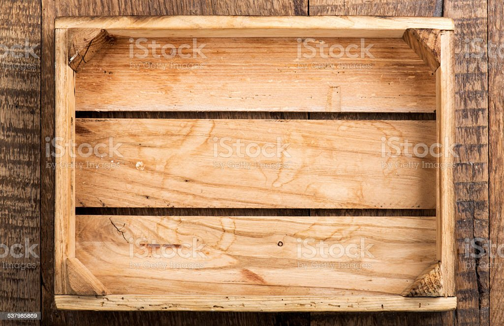 Wooden Empty Box stock photo