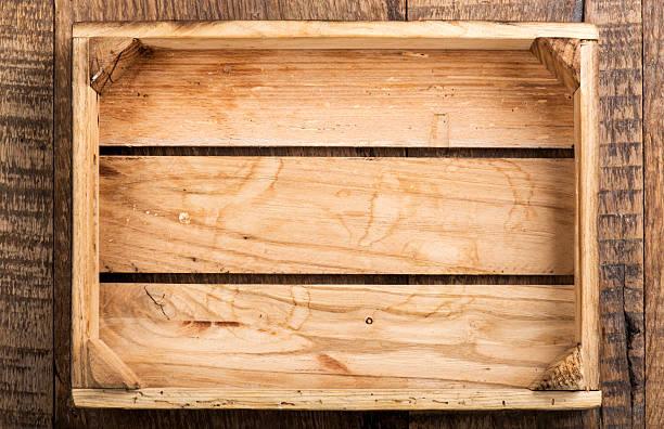 Wooden Empty Box stock photo
