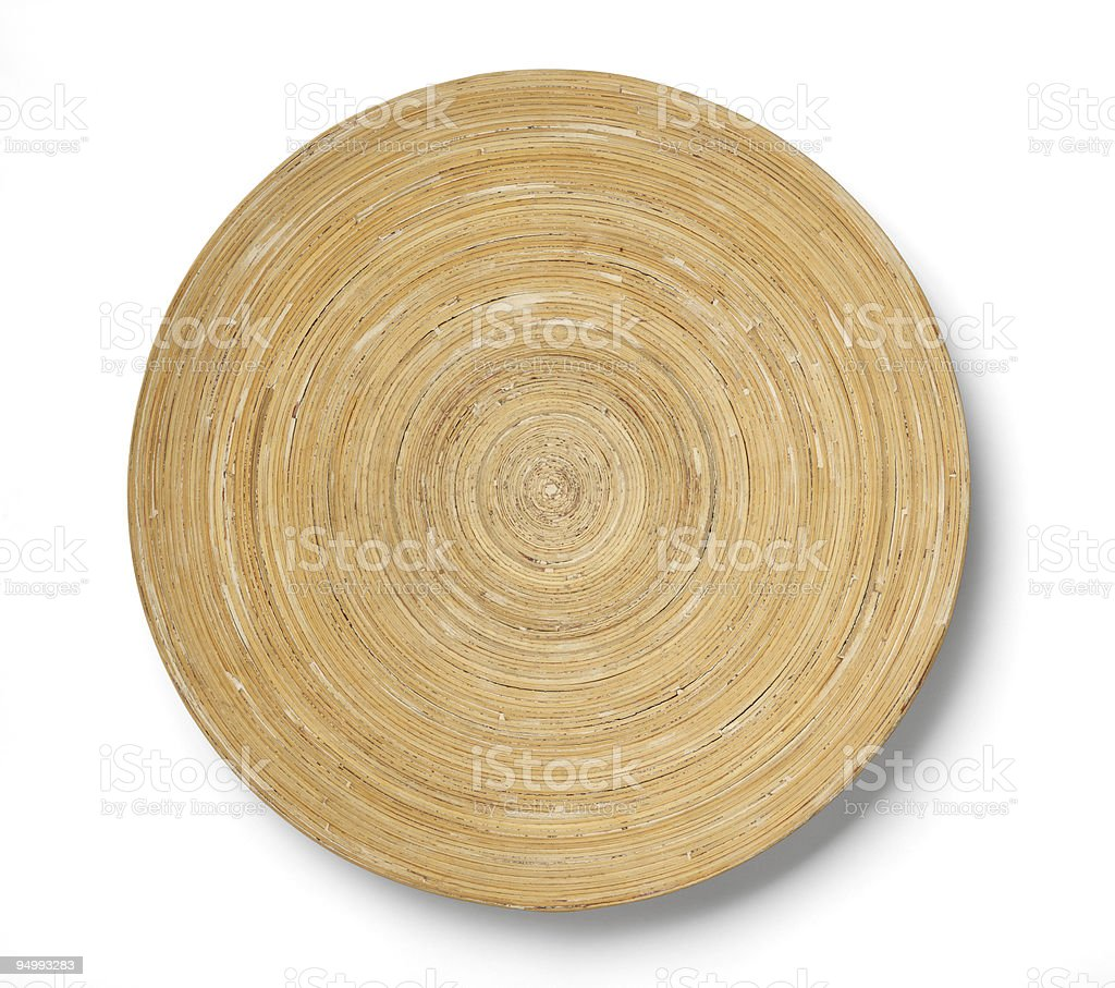 Wooden empty plate on white background stock photo