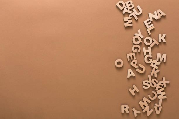 木製の英語の文字背景 ストックフォト