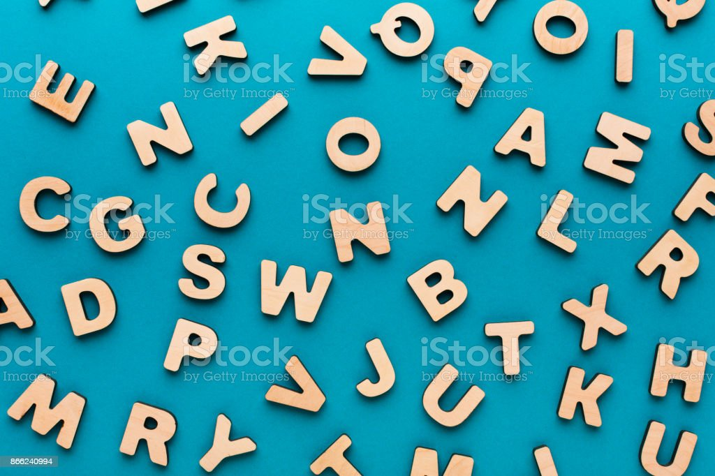 Wooden english letters background stock photo