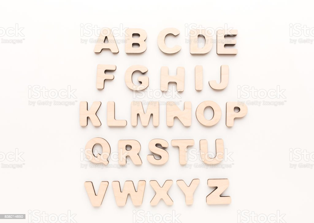 Wooden english letters stock photo