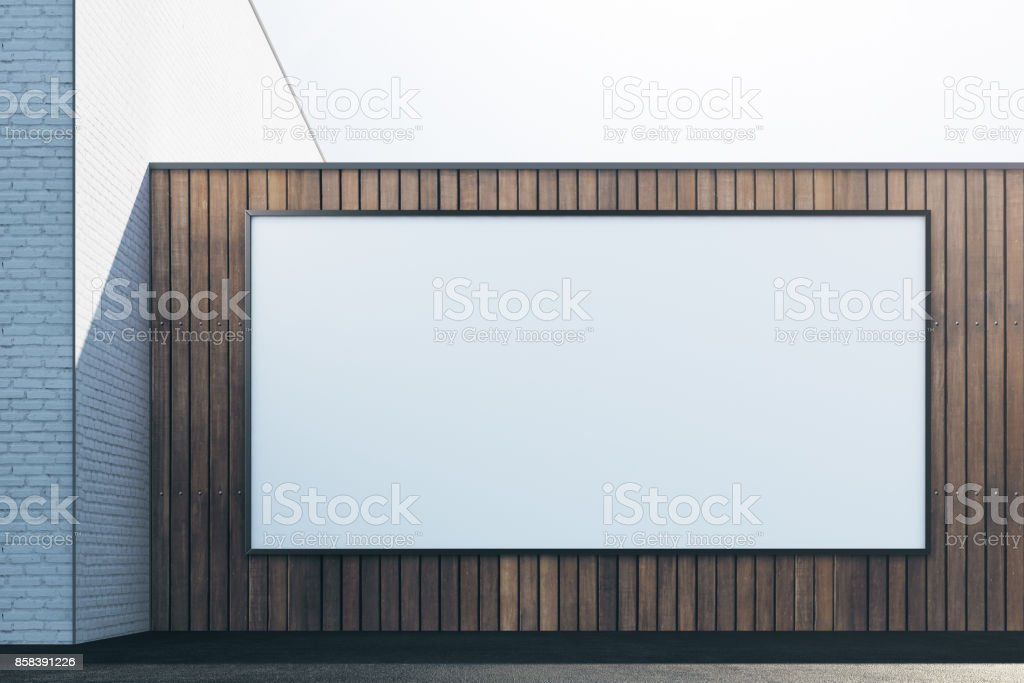 Wooden exterior with white frame front stock photo