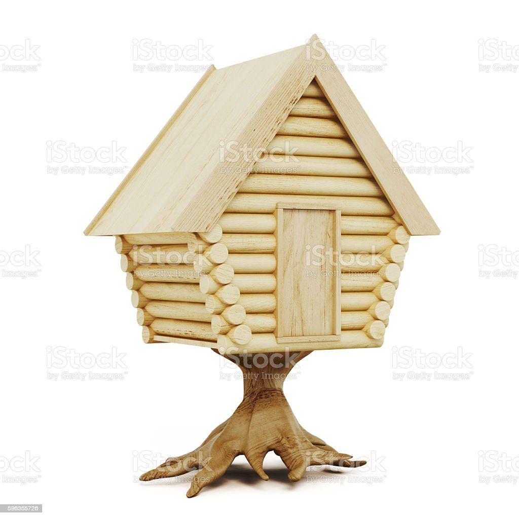 Wooden fairy house isolated on a white background. 3d rendering royalty-free stock photo