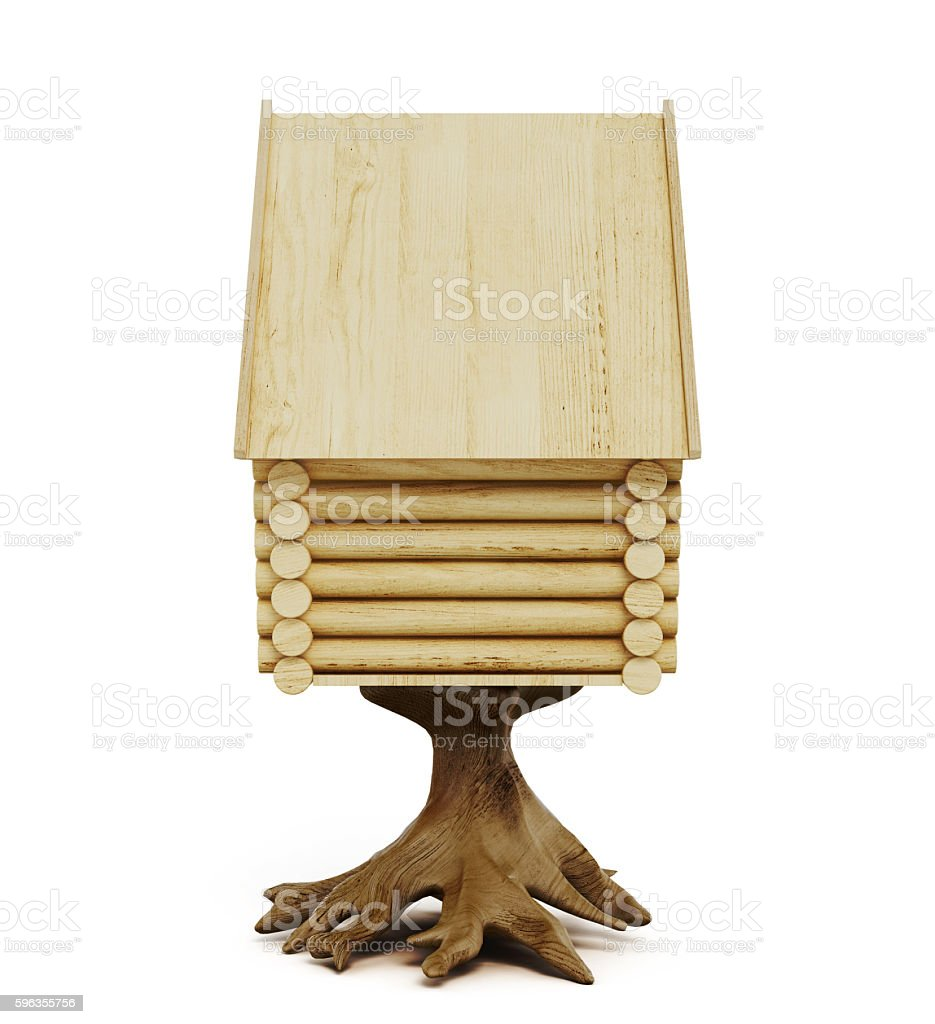Wooden fairy hut isolated on a white background. 3d rendering royalty-free stock photo