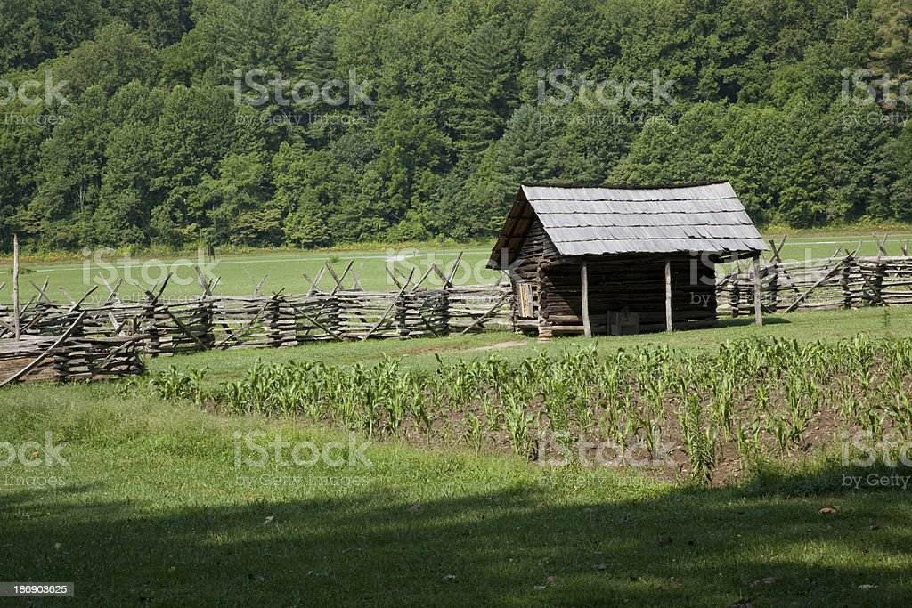 Wooden fence, a corn crib, field and woods stock photo
