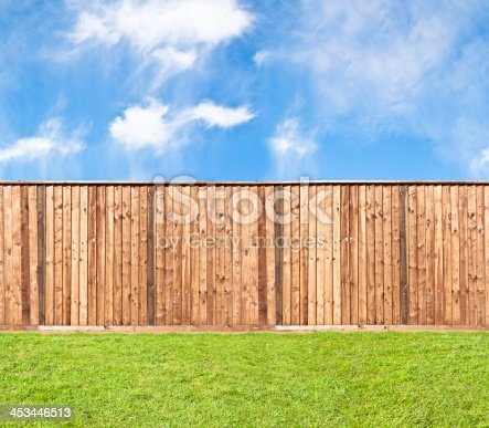 istock Wooden fence at the grass 453446513