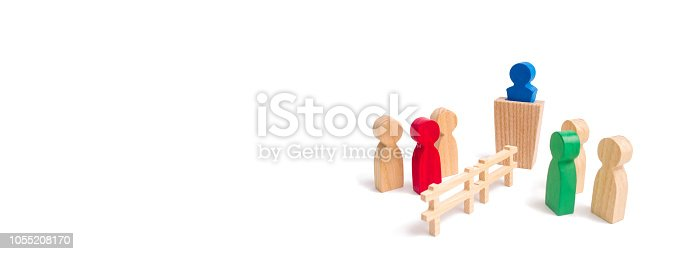 656916072istockphoto A wooden fence divides the two groups discussing the case. Termination and breakdown of relations, breaking ties. Contract break, conflict of interests. Negotiations of businessmen. banner 1055208170