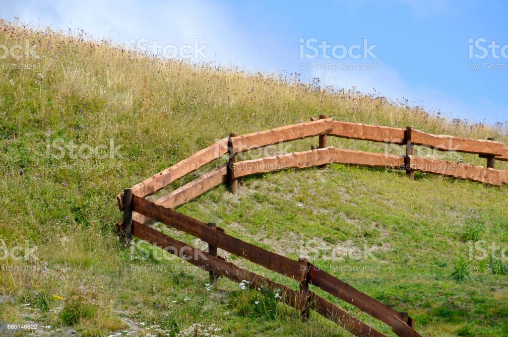 Wooden fence in a farm royalty-free stock photo