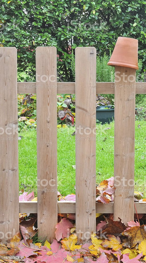 wooden fence in garden royalty-free stock photo