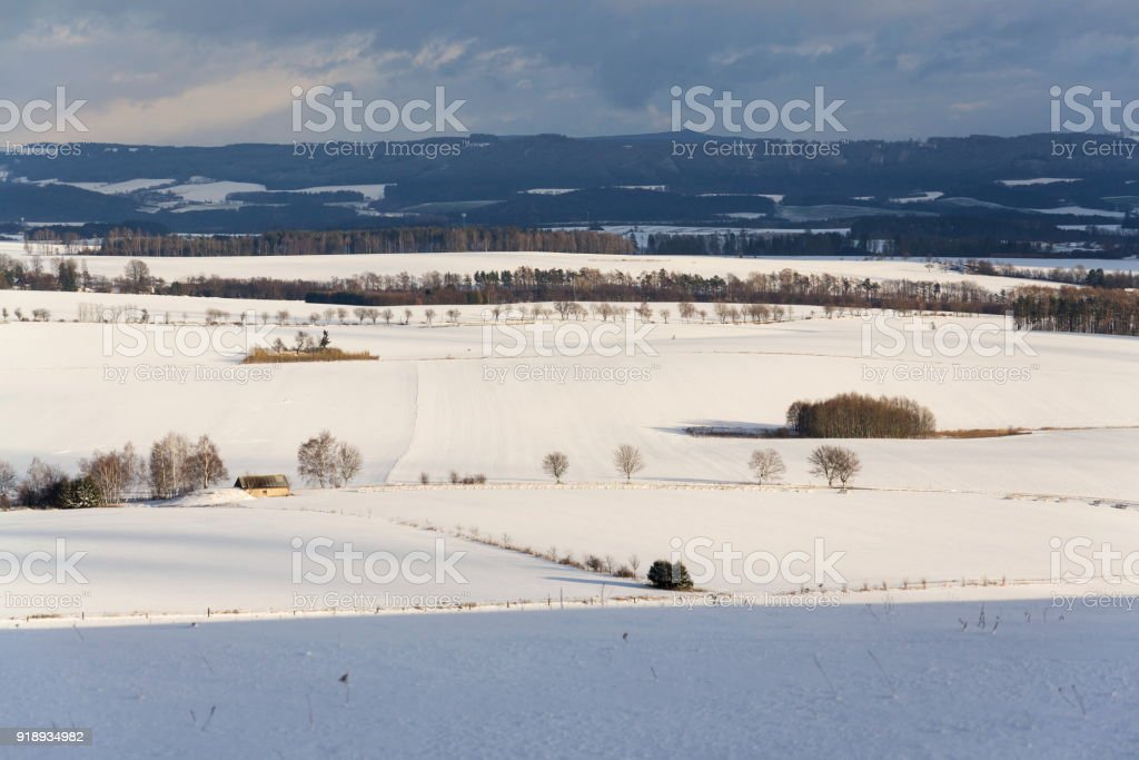 Vintage wooden fence poles in beautiful snowy peaceful winter country...