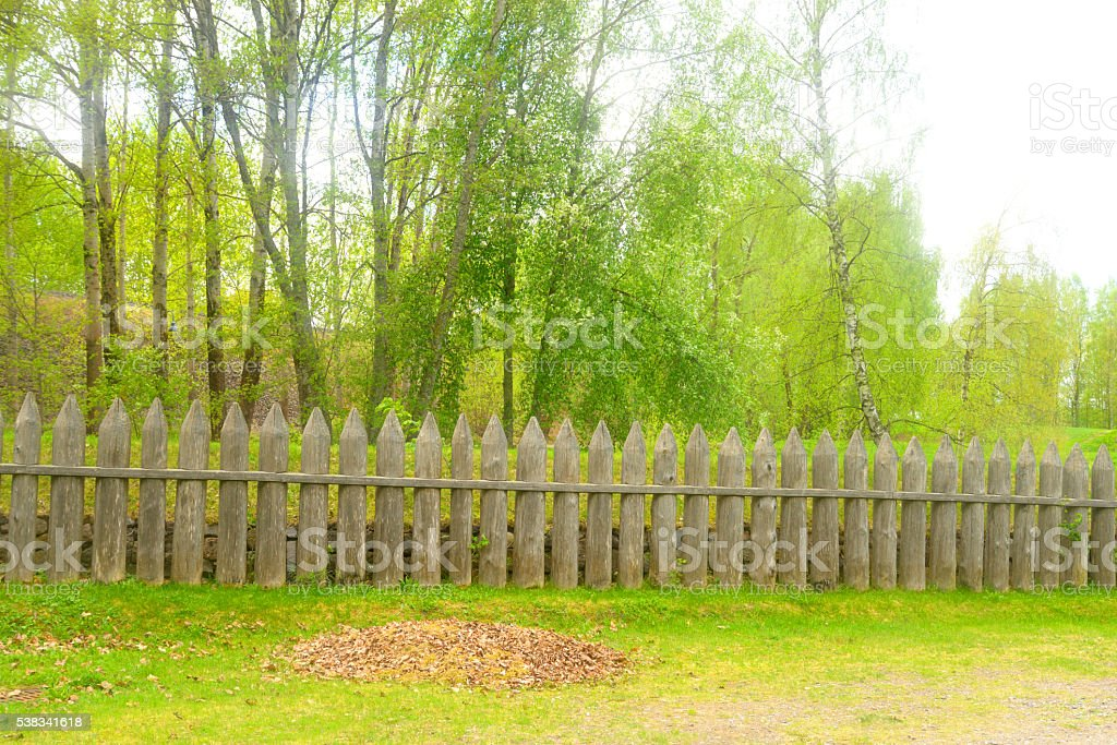 Wooden fence in the fortress of Lappeenranta. stock photo