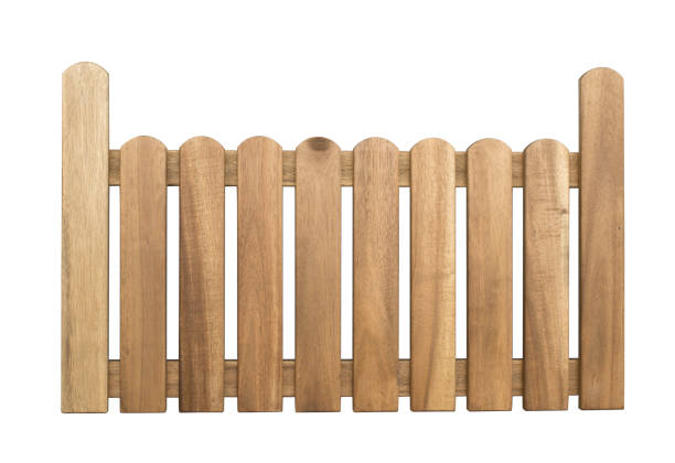wooden fence isolated on white background with clippping path - fence stock photos and pictures