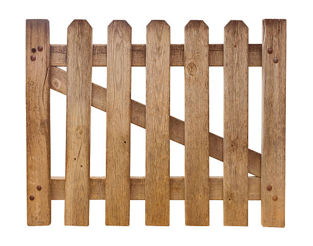 Wooden fence isolated on white stock photo