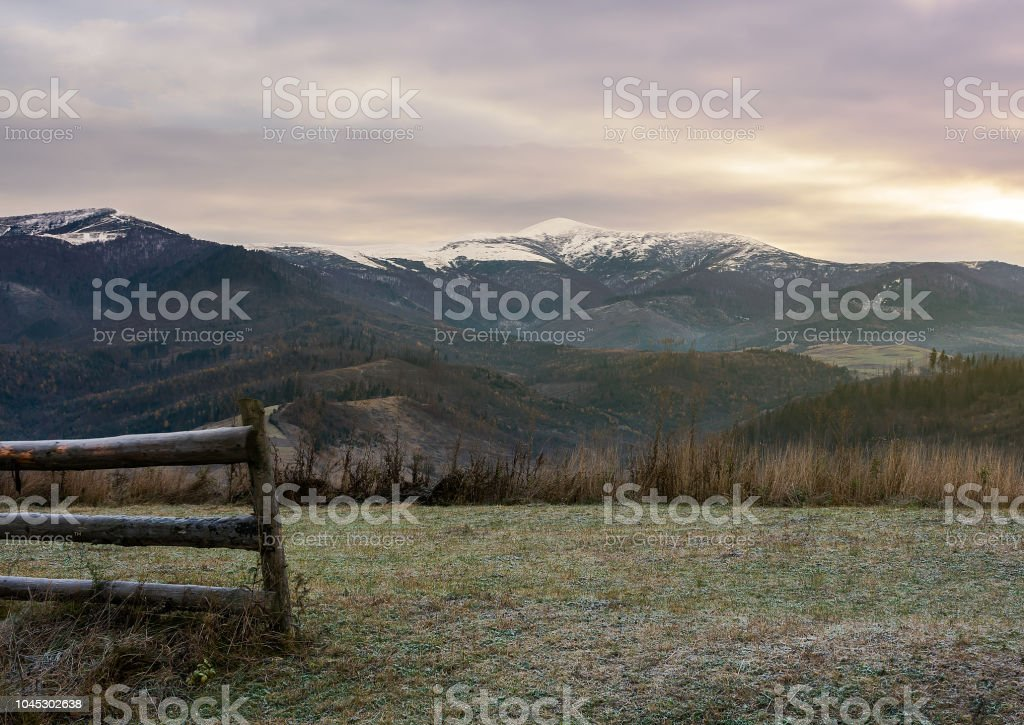 wooden fence on meadow with frozen grass stock photo