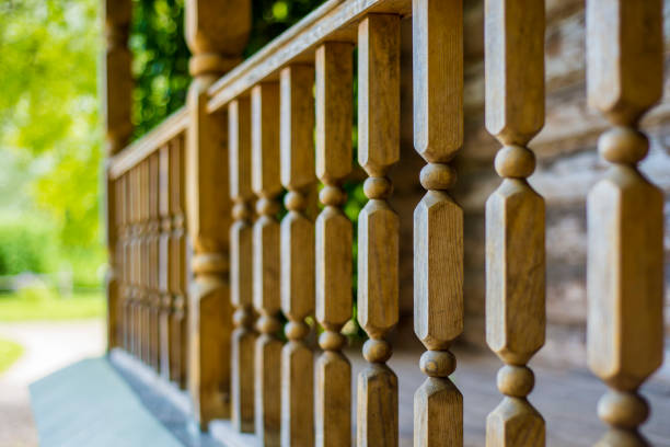 wooden fence on the porch stock photo