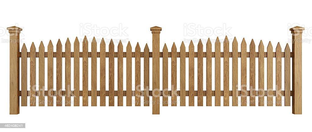 Wooden fence on white stock photo