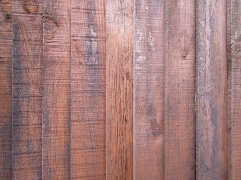 Close up of a brown wooden fence panel. Rustic background, wallpaper concept.