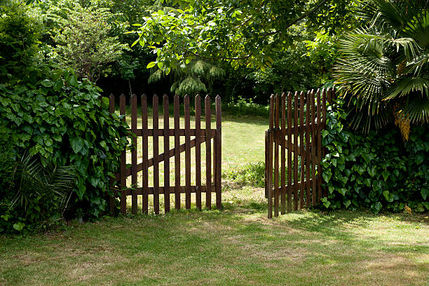 wooden fence - open gate stock photos and pictures