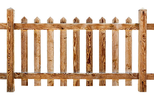 wooden fence - palisade boundary stock photos and pictures