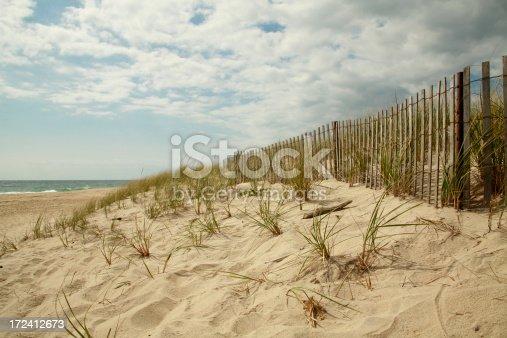 East Hamptons Beach scene with cloudy sky