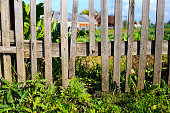 istock wooden fence with a loophole 486754600