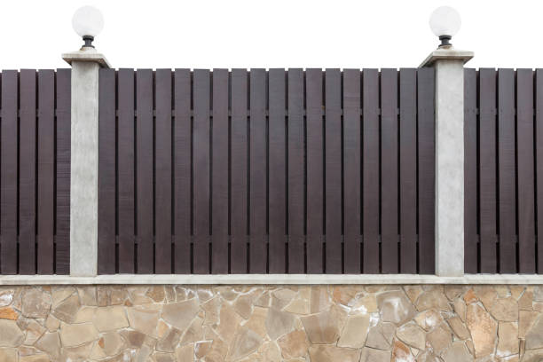 wooden fence with concrete pillars - palisade boundary stock photos and pictures