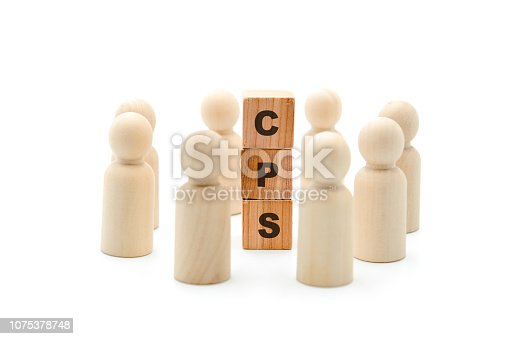 Wooden figures as business team in circle around acronym CPS Cost Per Sale, isolated on white background, minimalist concept