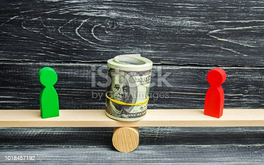 1018458132istockphoto wooden figures of people on scales and dollars between them. a dispute between two businessmen. trial. debt restructuring. wage arrears. protection of employee rights. court. Labor Law 1018457192