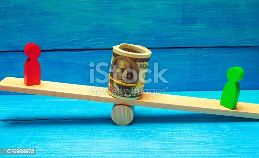 1018458132istockphoto wooden figures of people on scales and dollars between them. a dispute between two businessmen. trial. debt restructuring. wage arrears. protection of employee rights. court. Labor Law 1026989978