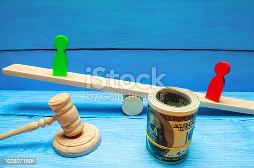istock wooden figures of people on scales and dollars between them. a dispute between two businessmen. trial. debt restructuring. wage arrears. protection of employee rights. court. Labor Law 1028271504