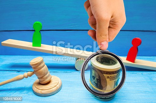 istock wooden figures of people on scales and dollars between them. a dispute between two businessmen. trial. debt restructuring. wage arrears. protection of employee rights. court. Labor Law 1054976000