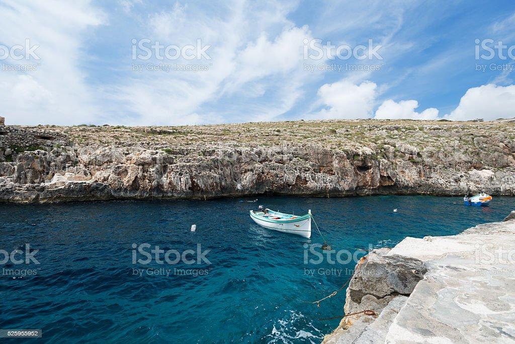 Wooden fishing boat at Gozo island Malta stock photo