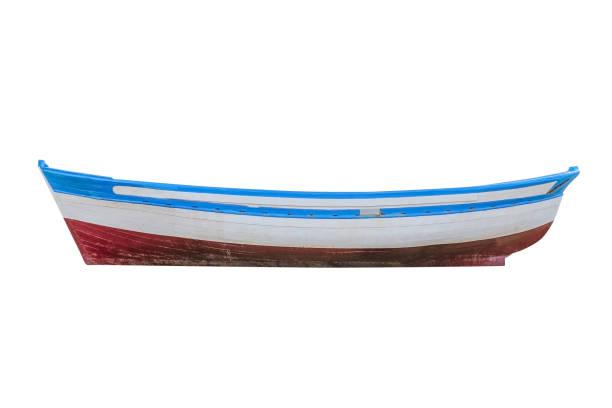 barco de pesca de madeira, isolado no fundo branco - foto de acervo
