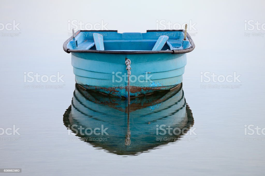 wooden fishing boat moored stock photo