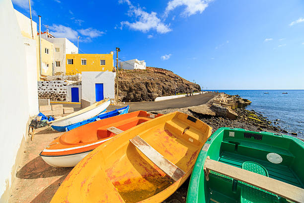 wooden fishing boats in a small port - cuba stock photos and pictures
