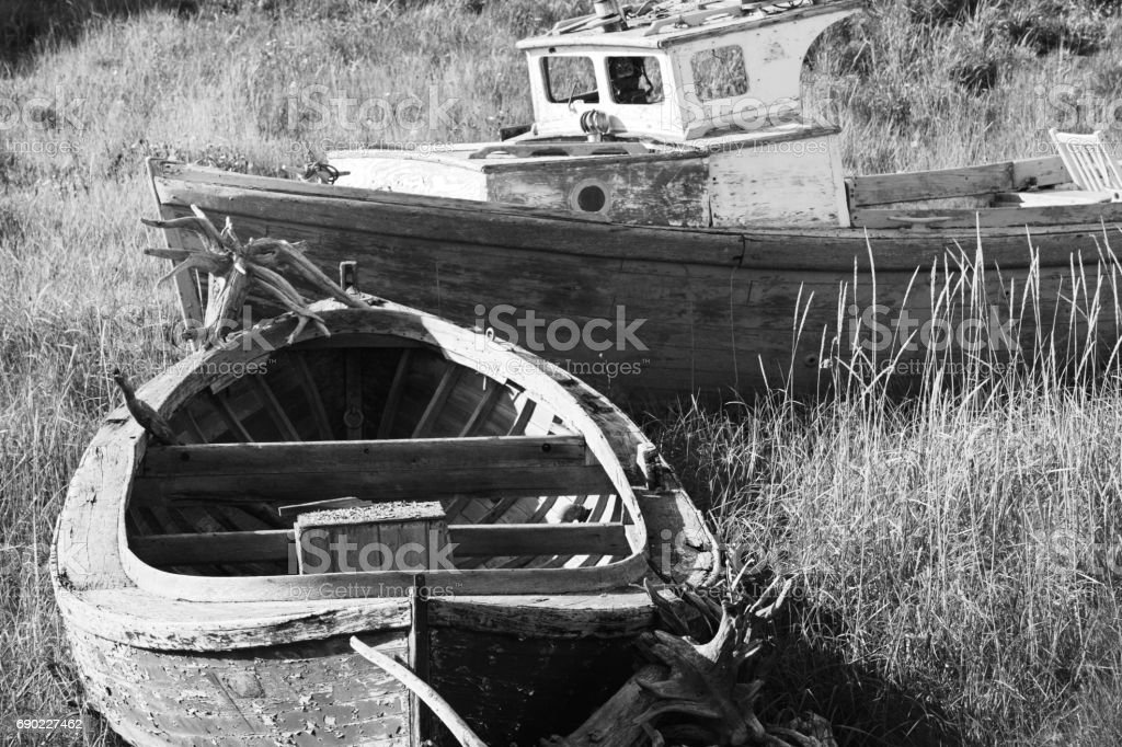 Wooden Fishing Boats Old Nautical Vessels stock photo
