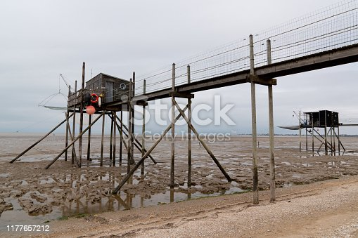 wooden fishing hut shack to trawl the estuary french carrelet on west coast of France in royan near La Rochelle