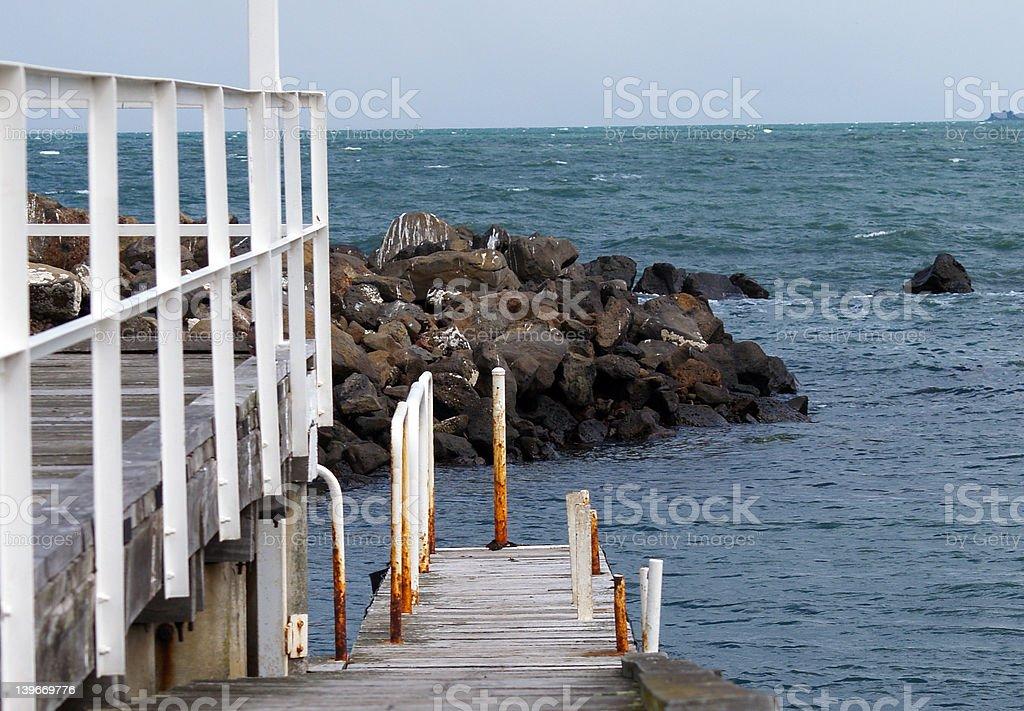 Wooden fishing jetty royalty-free stock photo