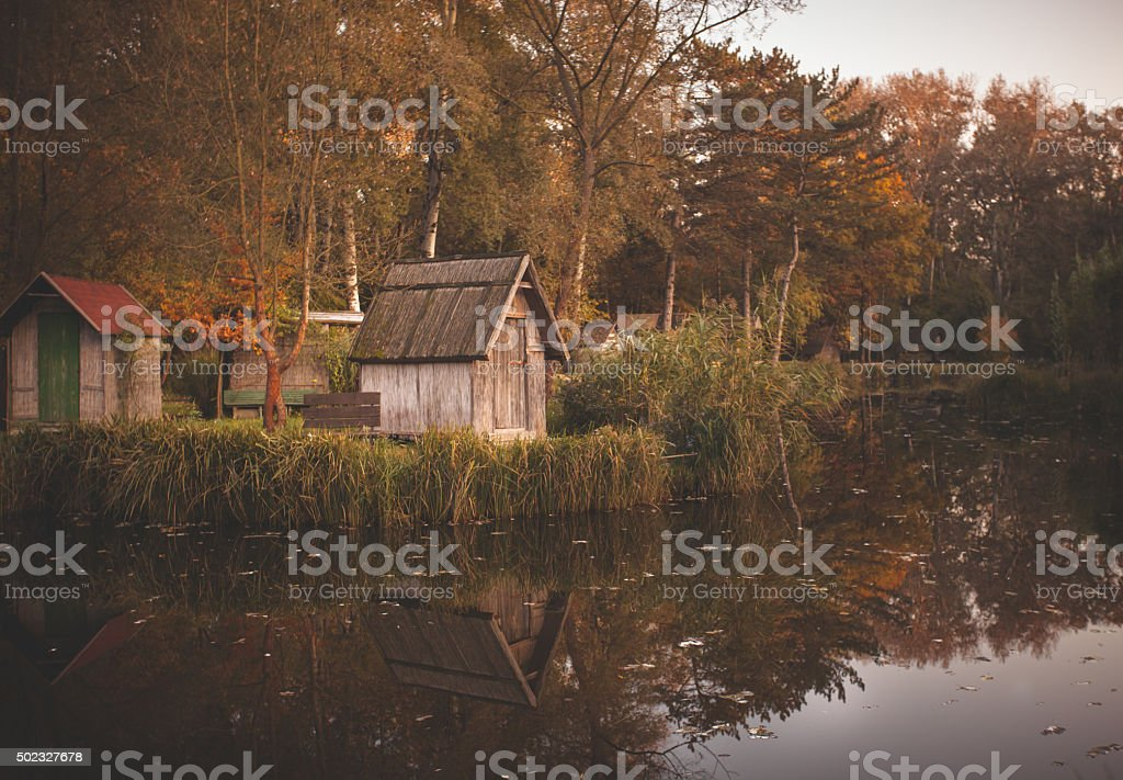 Wooden fishing lodge in Hungary stock photo