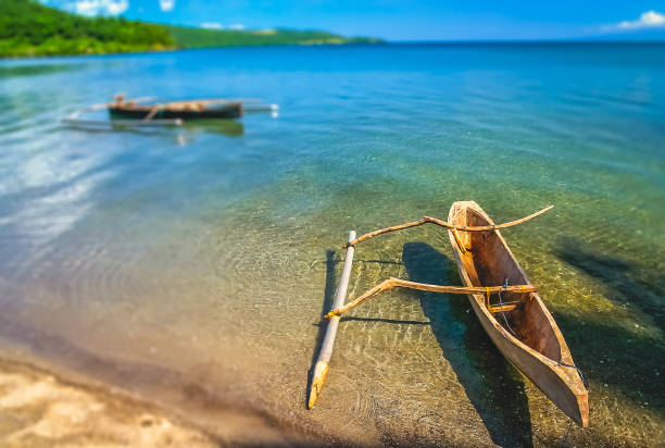 Wooden fishing pirogue from Sumbava stock photo