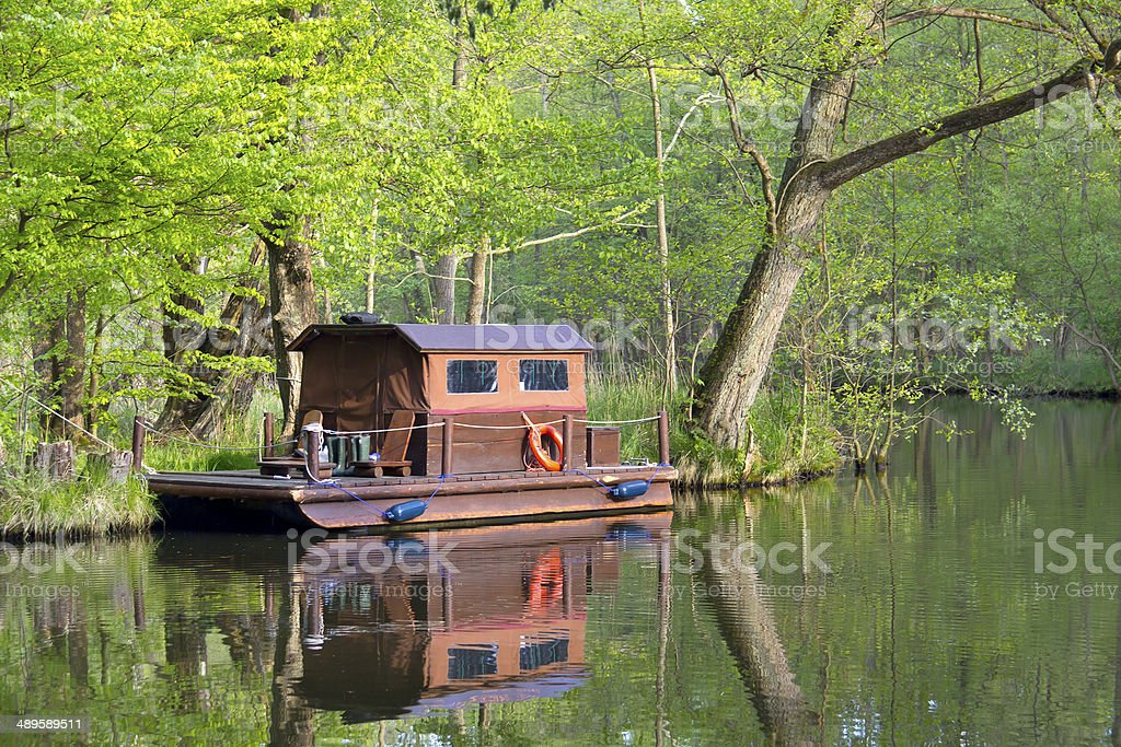 Wooden float at the River Havel. stock photo
